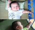 放两张宝宝小时候的午睡照片,姿势不错。